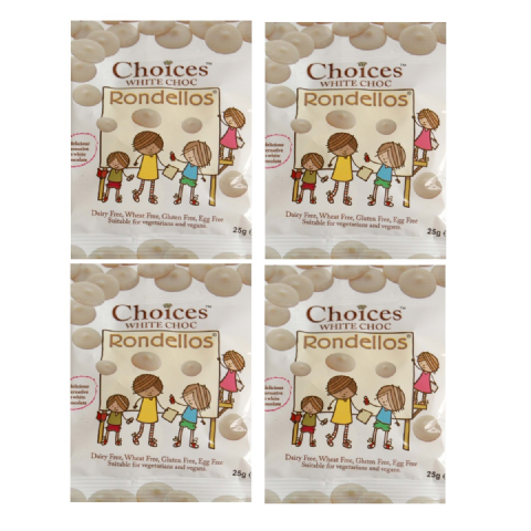 4 x White Chocolate Rondellos Buttons - Choices Dairy Free Milk Chocolate Alternative CELTIC 25g